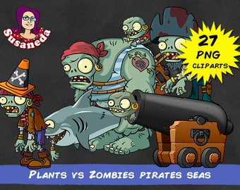 PVZ 2, PLANTS vs ZOMBIES Pirates Seas cliparts, 27 Cliparts Pack, Pirates Seas, transparent background, instant download