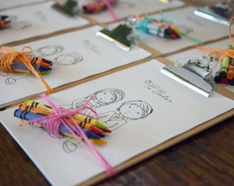 Kids Coloring with Miniature Clipboard for Parties or Weddings