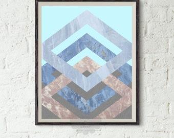 Geometric art printable - Abstract Art, Modern Art Print, Blue Art, Brown Art, Rhombus Art, Marble Print, Digital Art, Modern Printable Art