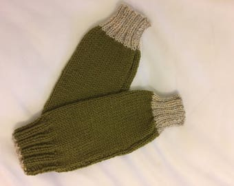 Hand knitted green fingerless gloves