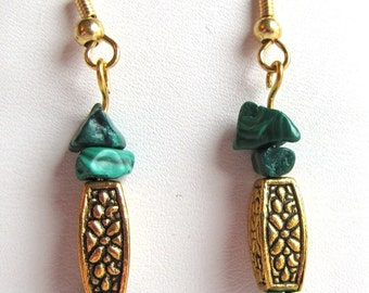 Natural Malachite Chip Beads and Gold Plated Pewter Bead Dangle Earrings