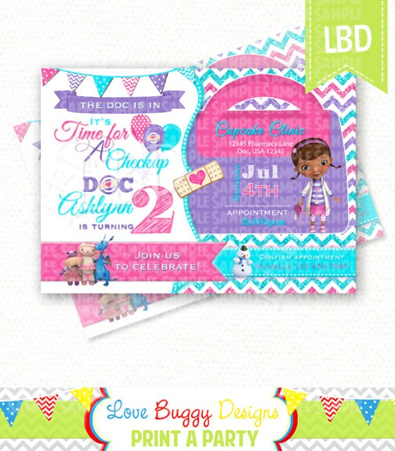 Doc Mcstuffins Invitations Chevron Invitation Doc Mcstuffins