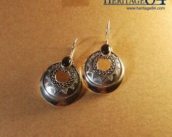Black Onyx Earrings in handmade 925 Sterling Silver, Dangle earrings, Boho earrings, bohemian tribal earrings, fashion silver earrings