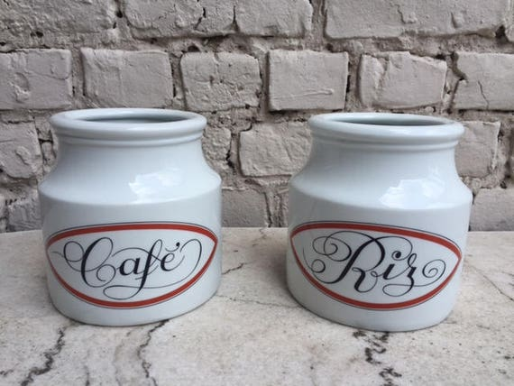 Vintage containers of Coffee and Rice French porcelain