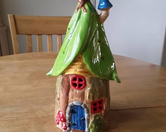 Fairy house, hand painted and glazed. Tealight holder