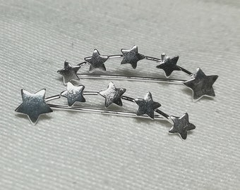 Sterling Silver Star Ear Climber, Star ear crawlers, ear climber earrings, ear crawler earrings, ear pins, star earrings, ear sweeps, Studs