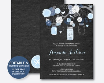 Instant Download, Editable Mason Jar Baby Shower Invitation, Mason Jar Invitation, Blue Mason Jar, Baby Sprinkle, Chalkboard (CBS.46)