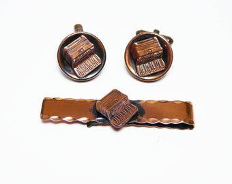 Copper Cuff Links & Tie Bar Set for Men, Accordian Theme, Musical Instruments - Mid Century Modernist Vintage 1959s Jewellery