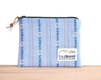 Edelweiss cotton zipper pouch / Swiss fabric zipper bag / make up bag / jewelry bag / Alpine chic bag