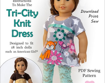 Pixie Faire Originals By Gaby Tri-City Knit Doll Clothes Pattern for 18 inch American Girl Dolls - PDF