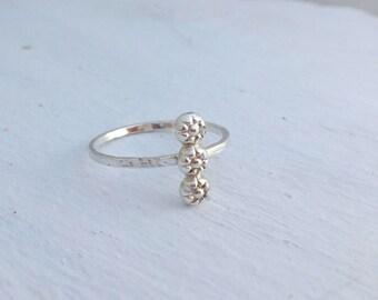 Flower bar ring, Sterling silver engagement ring, Promise ring, Boho ring, Engagement gift, Girlfriend gift,Gift for girlfriend, nature ring