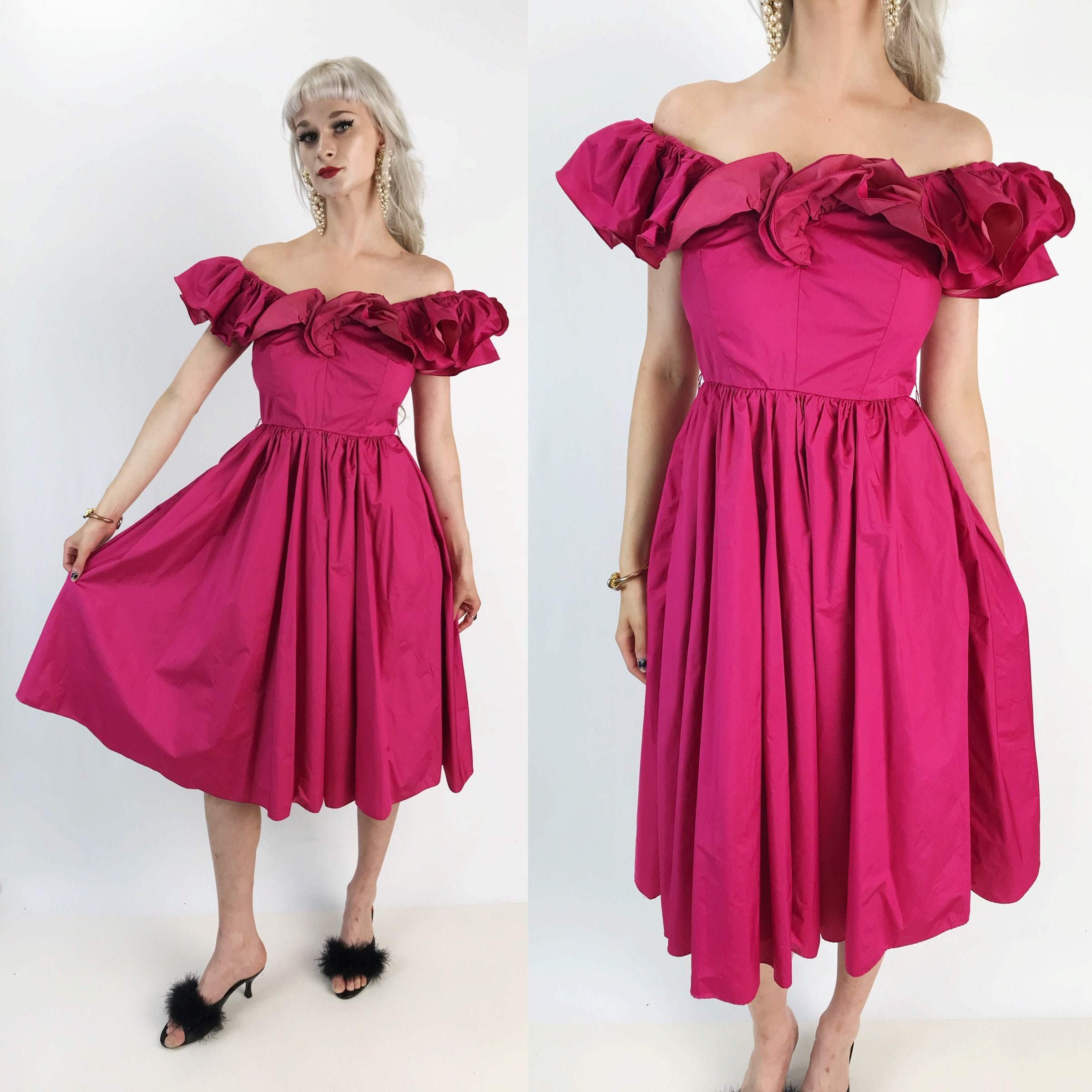 80\'s Hot Pink Girly Ruffle Midi Prom Party Dress Small - Pink Off ...