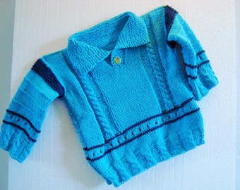 Sweater gr. 74-80 Knitted knit sweater cardigan jacket boy baby blue turquoise collar
