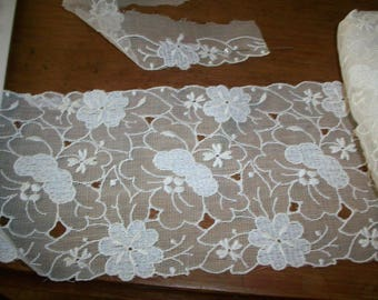 cotton 1920s antique lace yardage embroidery Swiss