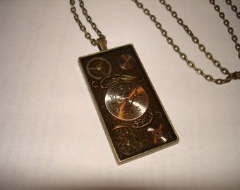 Steampunk Necklace Pendant  - Wings of Time