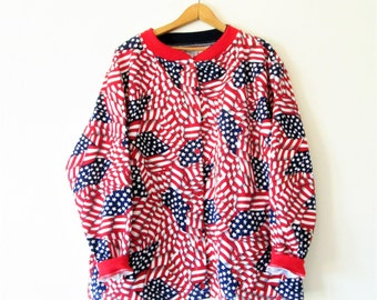 Vintage 1990s All Over AMERICAN FLAG Print Button Down Sweatshirt Sz L