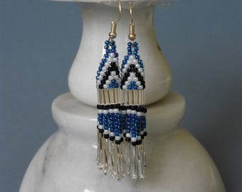 Blue and silver Native American style brick stitch dangle earrings