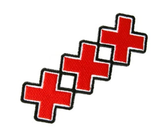 Triple X Red Cross xxx Embroidered Applique Iron on Patch