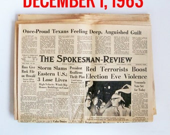 "Old Newspaper From December of 1963 - Spokane, WA Spokesman-Review ""Cold War - Presidend Kennedy Assasination News"""
