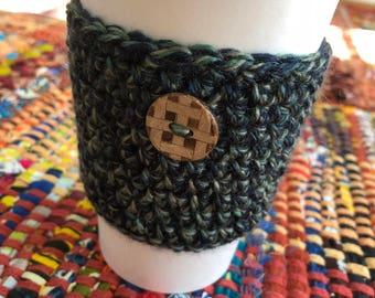 Crochet Coffee Cozy- Christmas Green