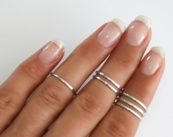 Sterling Silver stacking rings, 6 Above the knuckle rings set, sterling silver midi ring, plain band midi rings, silver shiny thin rings