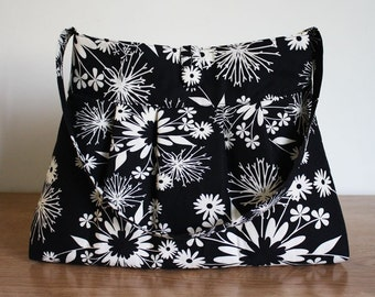 Black and Cream Floral Pleated Purse, Ready to Ship