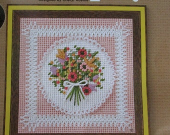 "Needlepoint Vintage Kit, Jiffy Needlepoint Kit ""Lace Nosegay-Pink"", Bouquet of Flowers Needlepoint Kit, Summer Flowers Needlepoint Kit, Pink"