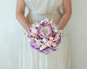 Seashell Bouquet. Light purple, lilac and silver seashell wedding bouquet.  Beach wedding bouquet. Brooch wedding Bouquet