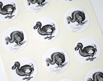 Dodo Bird Stickers One Inch Round Seals