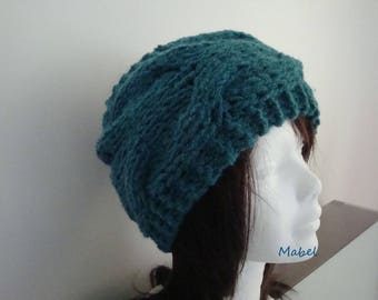Teal headband twist, warm and soft, French wool