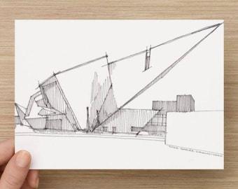 Ink Sketch of Denver Art Museum - Drawing, Art, Pen and Ink, Architecture, Libeskind, Design, Urbansketcher, 5x7, 8x10, Print