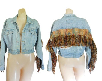 Women Denim Jacket  90s Denim Jacket Blue Jean Jacket Boho Jacket Fall Jacket Fringe Jacket Southwestern Jacket Short Jacket Light Jacket