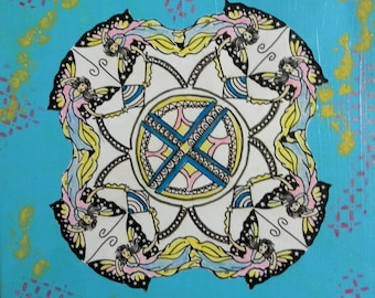 Mandala Original Design,Painted Mandala Art Fairies Kaleidoscope Mandala Design 10x10 Mixed Media Art # 60