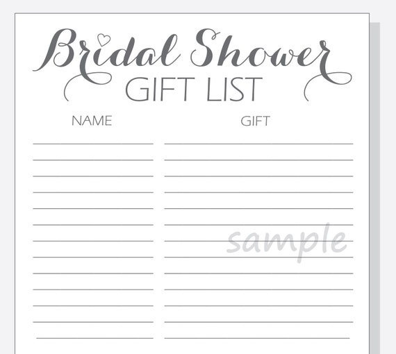 What To Put On A Wedding Gift List: DIY Bridal Shower Gift List Printable Calligraphy Script