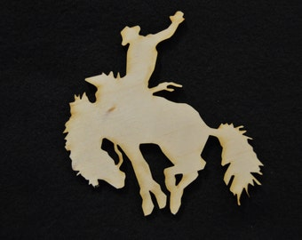 Small Cowboy Rodeo Wood Cutouts - Shapes for Projects or Other Use