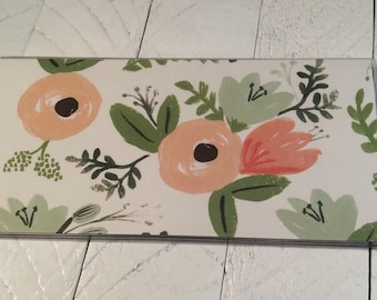 CHECKBOOK COVER - Wildflower Peony Paper by Rifle Paper Co - Dusty Rose Pink Green - Floral check book