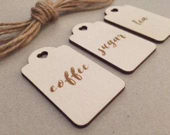 Engraved Wooden Tea, Coffee & Sugar Jar Tags // Set of 3 Mason Jar Pantry Tags