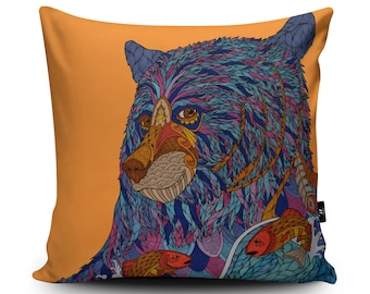 Orange Bear Vegan Cushion by Paul Robbins | Bear Illustration with Fish Pillow | Bear Christmas Gift | Wild Bear Home Decor Cushion Cover