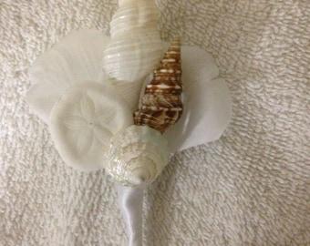Seashell Beach Destination Wedding Sea Shell Boutonniere Corsage flower seashell