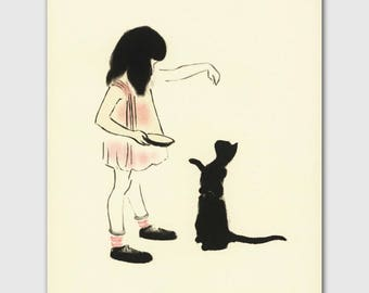 "Cat Mom, Cat Art (Vintage Cat Kitchen Print, Baby Room Decor, Mothers Day Gift) --- ""Hand Fed Cat"""