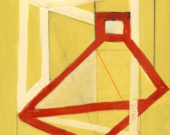 Geometric Art, Retro Art, Abstract Print, Mid Century Modern Art, Yellow
