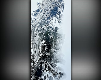 Black and White Painting 24 x 48 Abstract Painting Acrylic Painting Abstract Wall Art Large Wall Art Canvas Black Home Decor Wall Hanging