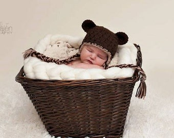 Baby Bear Hat, Ready to Ship, Toddler Bear Hat, Ear Flap Hat, Crochet Baby Hat, Baby Newborn Hat, Newborn Hat, Newborn Photo Prop, Baby Hat