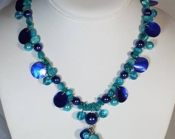 "Cynthia Lynn ""SUMMER BLUES"" Blue & Aqua Shell Lampwork Beaded Siver Necklace"