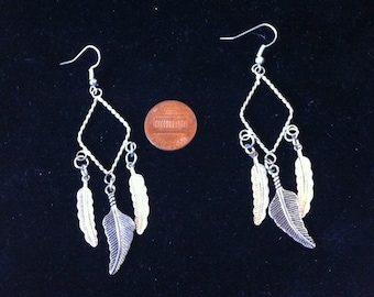 Silver Feather Charm Earrings - Feather Jewelry - Silver Feather Charms