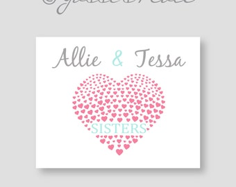 SISTERS, personalized Art Print in pink, aqua and grey, girl decor, keepsake, walll art by YassisPlace UNFRAMED Print