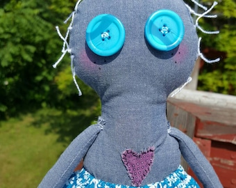 Handmade rag doll,Cloth doll,fabric doll,blue button eyes,removable clothing,Odd doll,blue for girls,Gift for her,Doll for Girl,Plush Doll