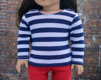 18 Inch Doll Clothes | Trendy Navy and White Stripe Long Sleeve TOP for 18 Inch Girl or Boy Doll