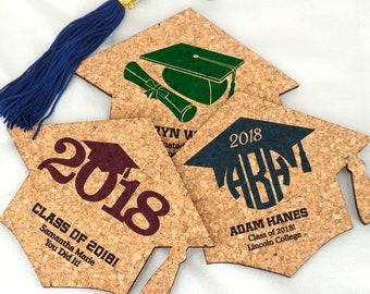 Graduation Party Decorations, Graduation Favor Coasters, Personalized Graduation Cap Cork Coaster, Graduation Party Favors - Set of 12