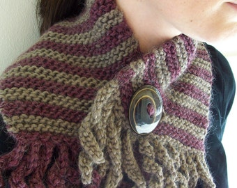 Scarf Knitting Pattern PDF, Easy Garter Stitch with 2-inch Button